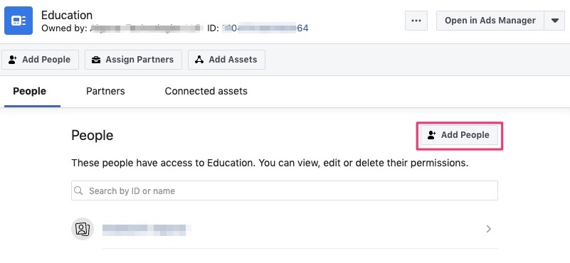 Click Add People button in Facebook pages manager
