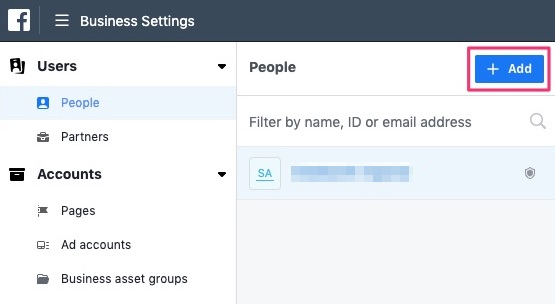 Click Add button to add people to Facebook business manager