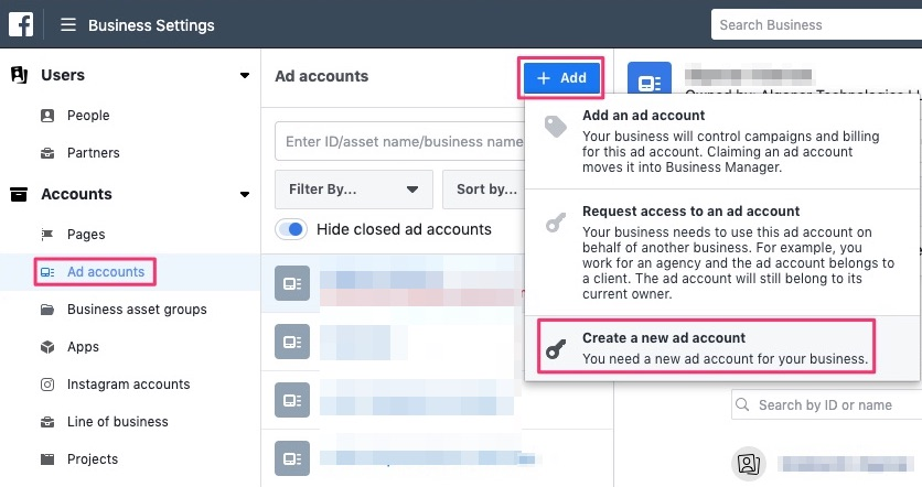 Create a new Ad account in Facebook business manager