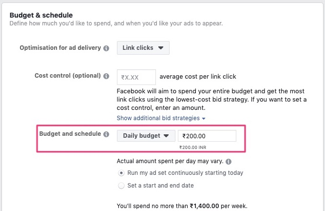 Daily budget in budget and schedule