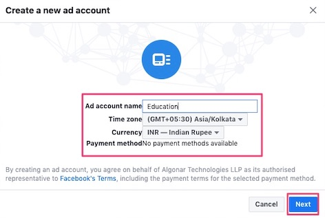 Enter Ad account details and click Next button