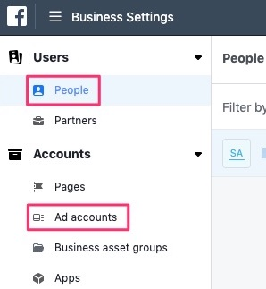 People and Ad accounts tab Facebook Business manager