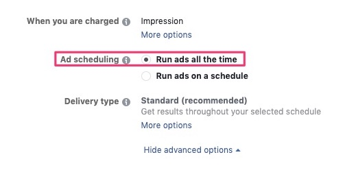 Run ads all the time in ad scheduling
