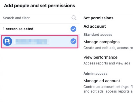 Select a user to manage the ad account