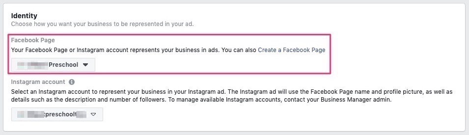 Select the facebook page to show the ads