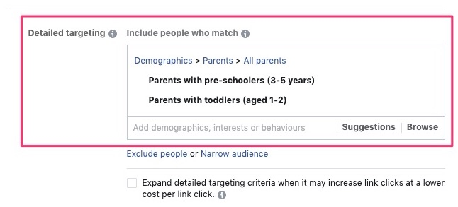 Choose the interests of the target audience through detailed targeting options