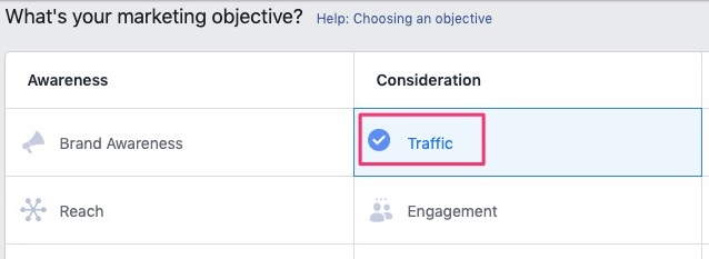 Select traffic as campaign objective