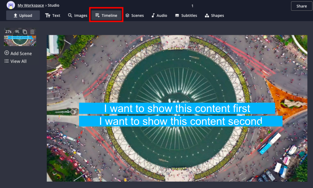 Adjust the timeline for the text elements