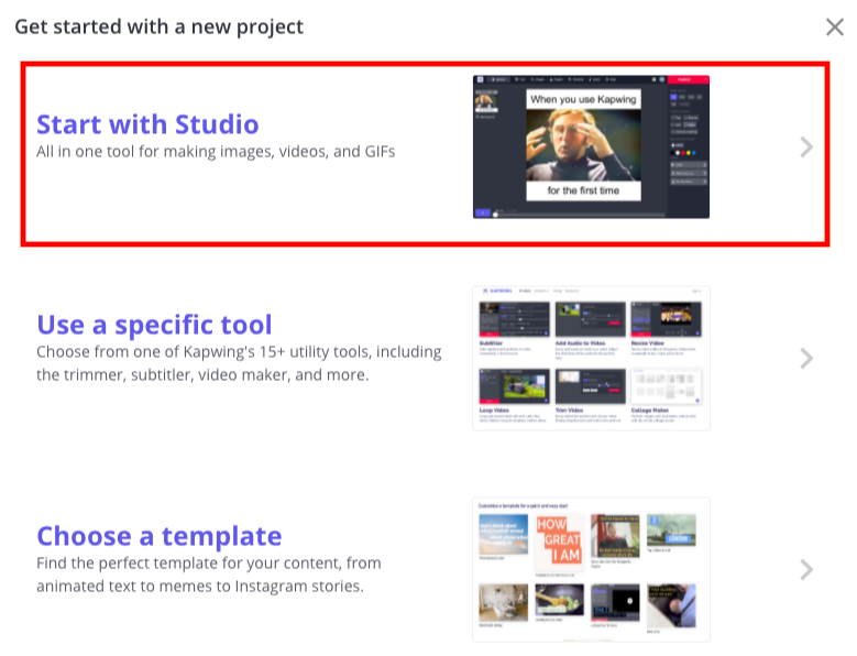 Select Start with Studio option in Kapwing