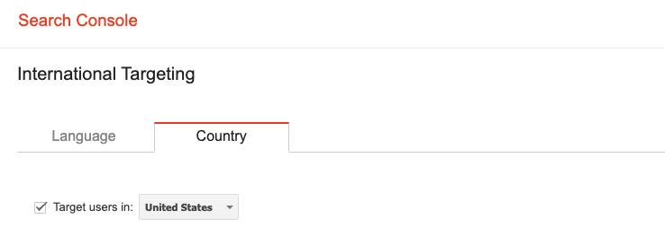 International targeting in Google search console.
