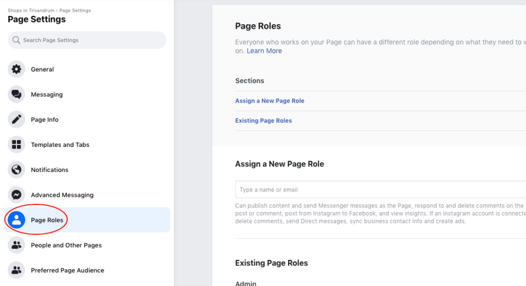 Select Page Roles from the left menu of the Page Settings page.