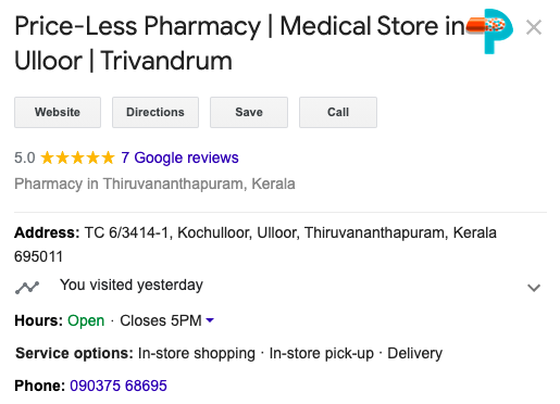 Google My Business GMB listing for Pharmacy Medical Stores